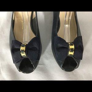 Navy Slingback Salvador Ferragamo Sandals, size 6